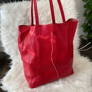 Red Italian Leather Tote Bag